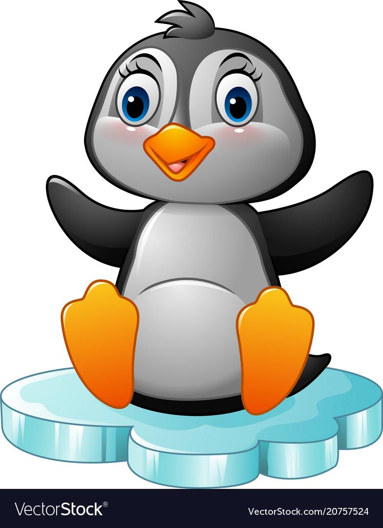 Cartoon funny penguin sitting on ice