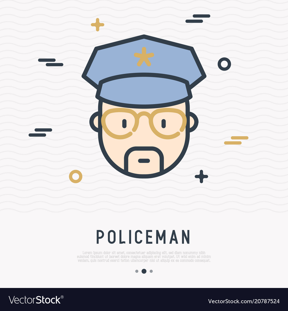 Cartoon policeman in glasses and cap line icon
