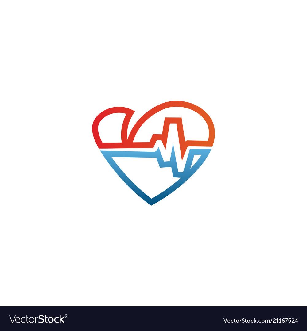 Elegant heart and ekg outline logo design template