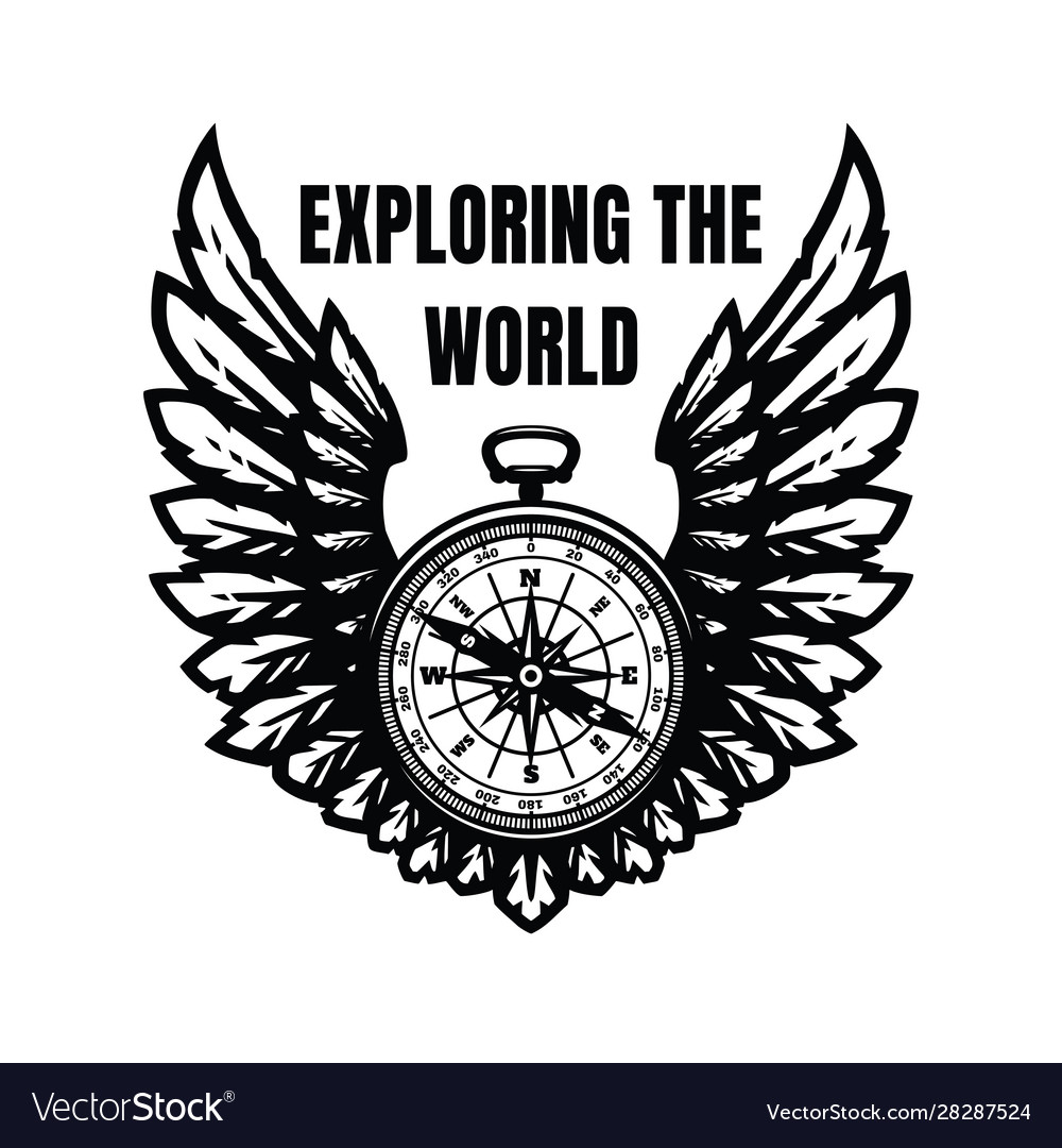 Exploring world compass and wings sign