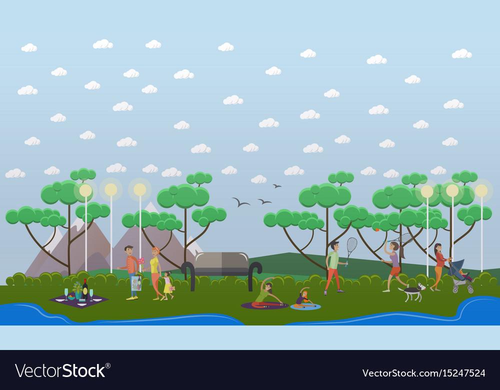 Family walk in the park in vector image