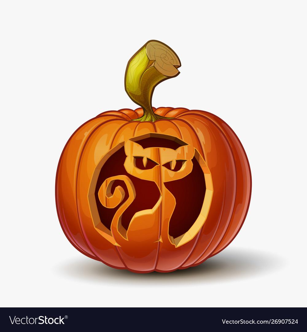 Jack O Lantern Spooky Cat Royalty Free Vector Image