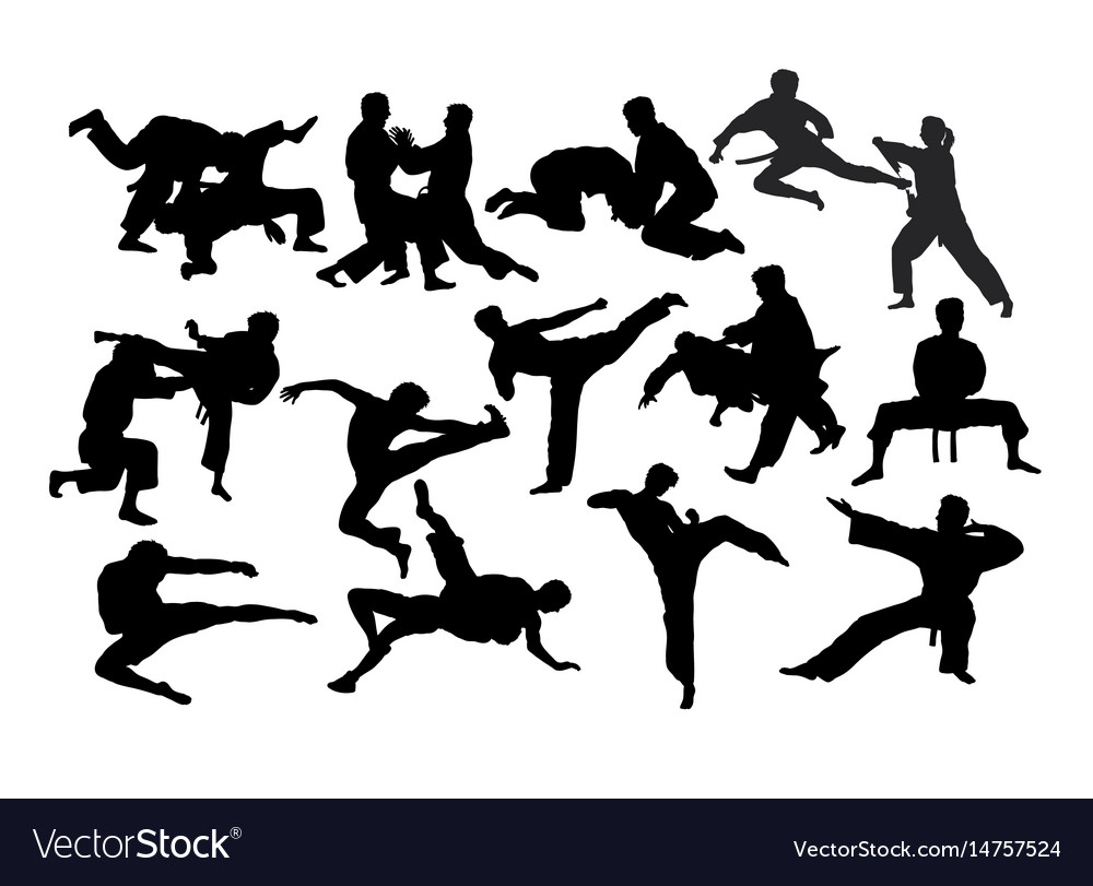 karate fight martial art silhouettes royalty free vector
