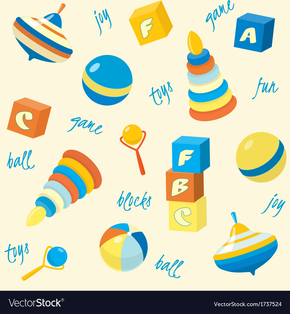 Seamless pattern with basic toys vector