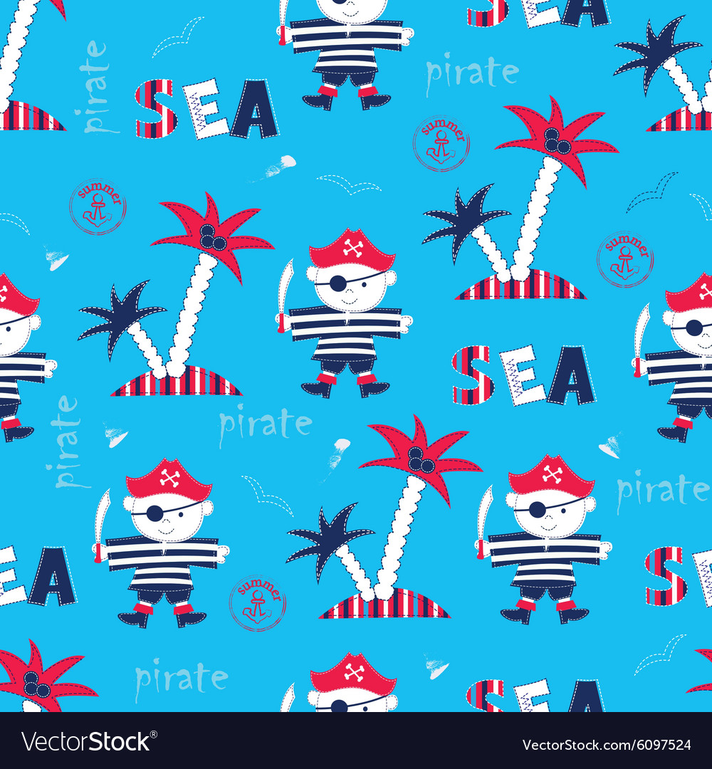 Seamless pattern with pirate