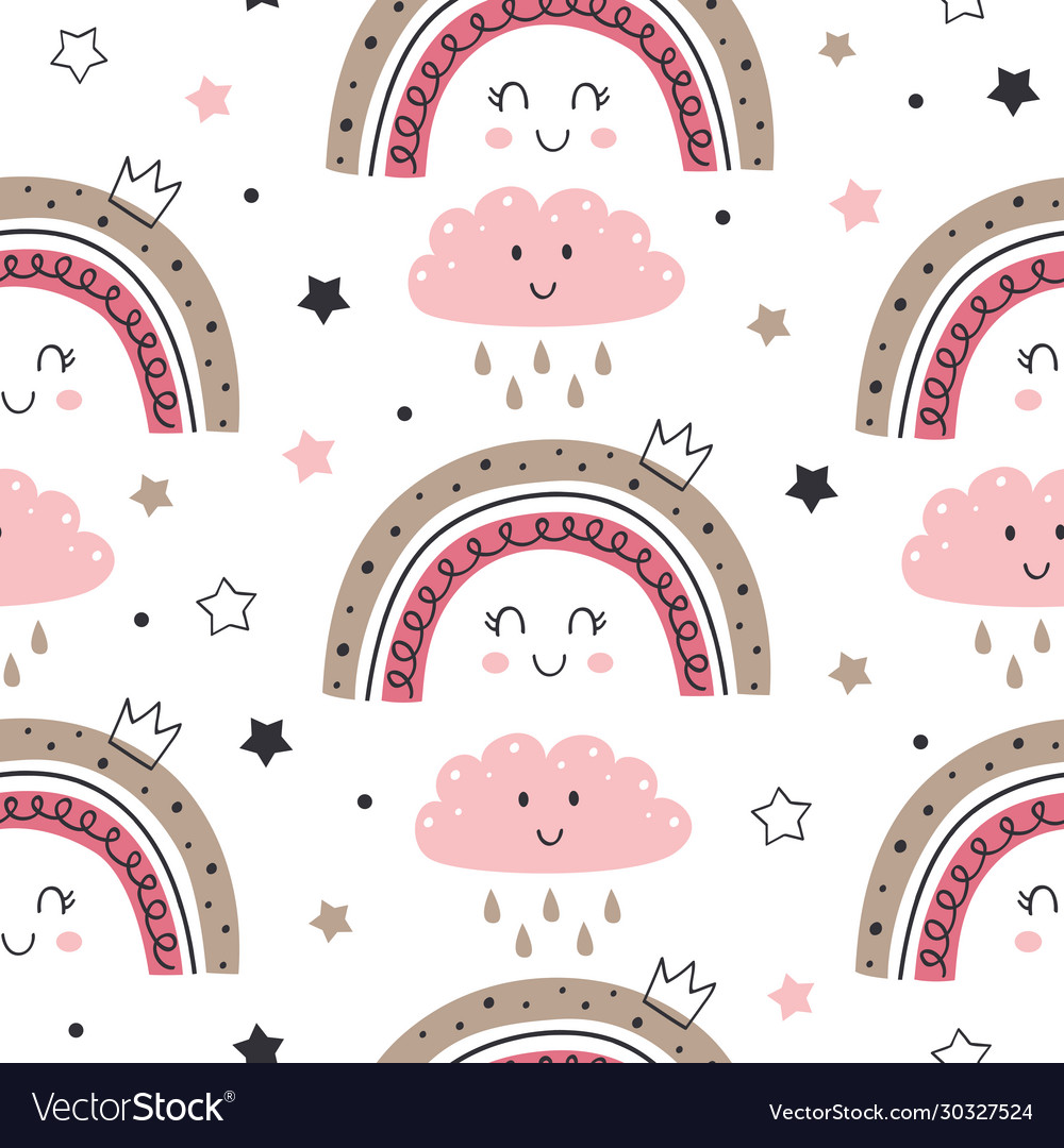 Seamless pattern with princess rainbow and cloud
