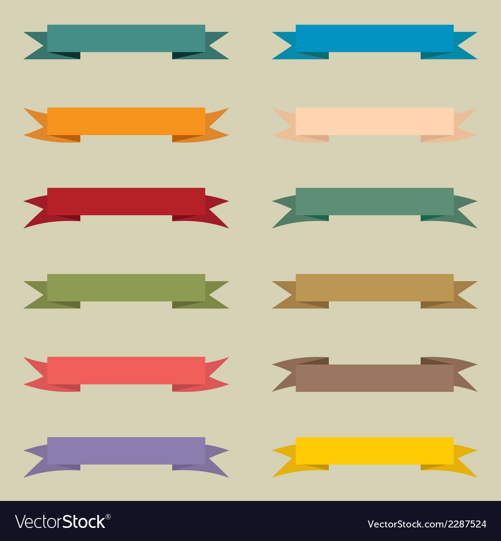 Set of multicolored vintage banners