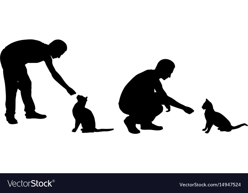 Silhouettes of people feeding cats