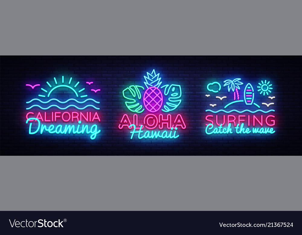 Summer neon signs collection design template