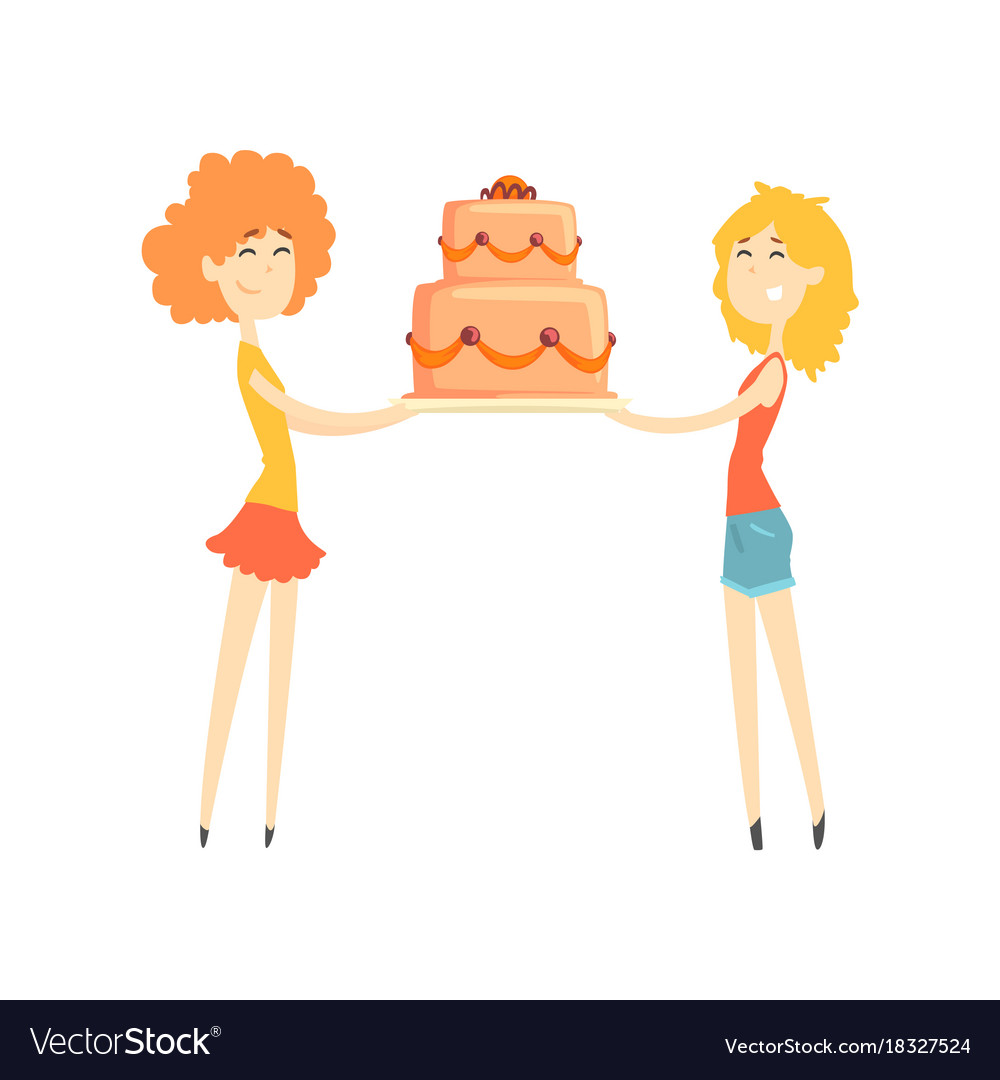 Two smiling young women holding festive cake vector image