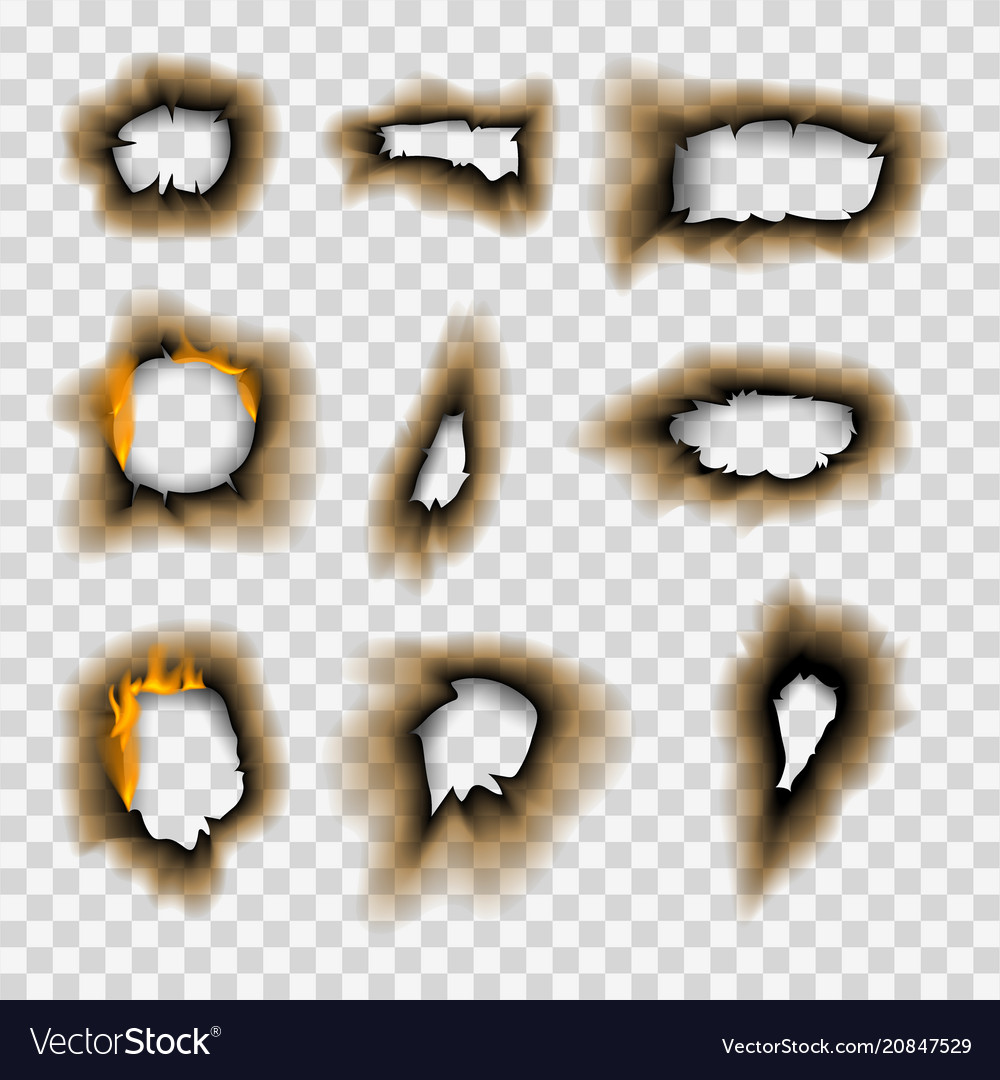 Burnt piece burned faded paper hole realistic fire