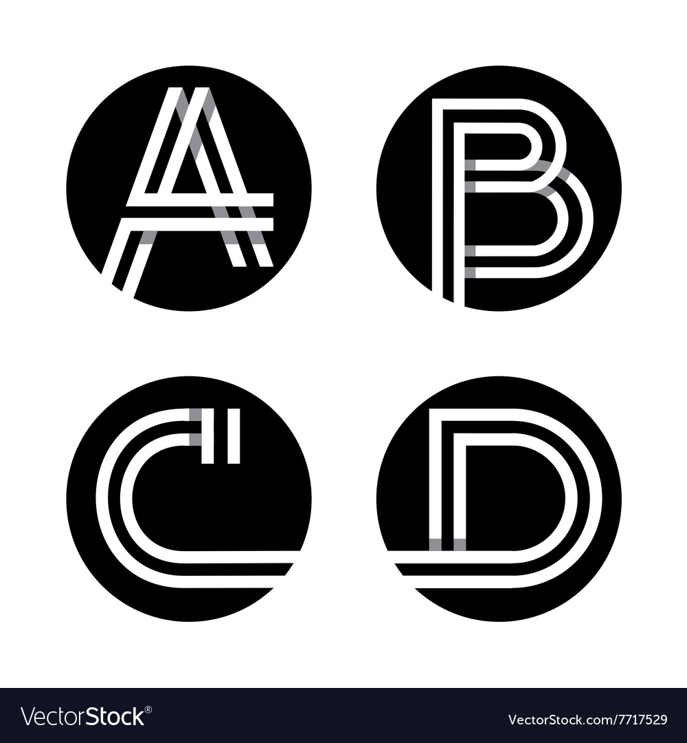 Capital letters A B C D In a black circle vector image