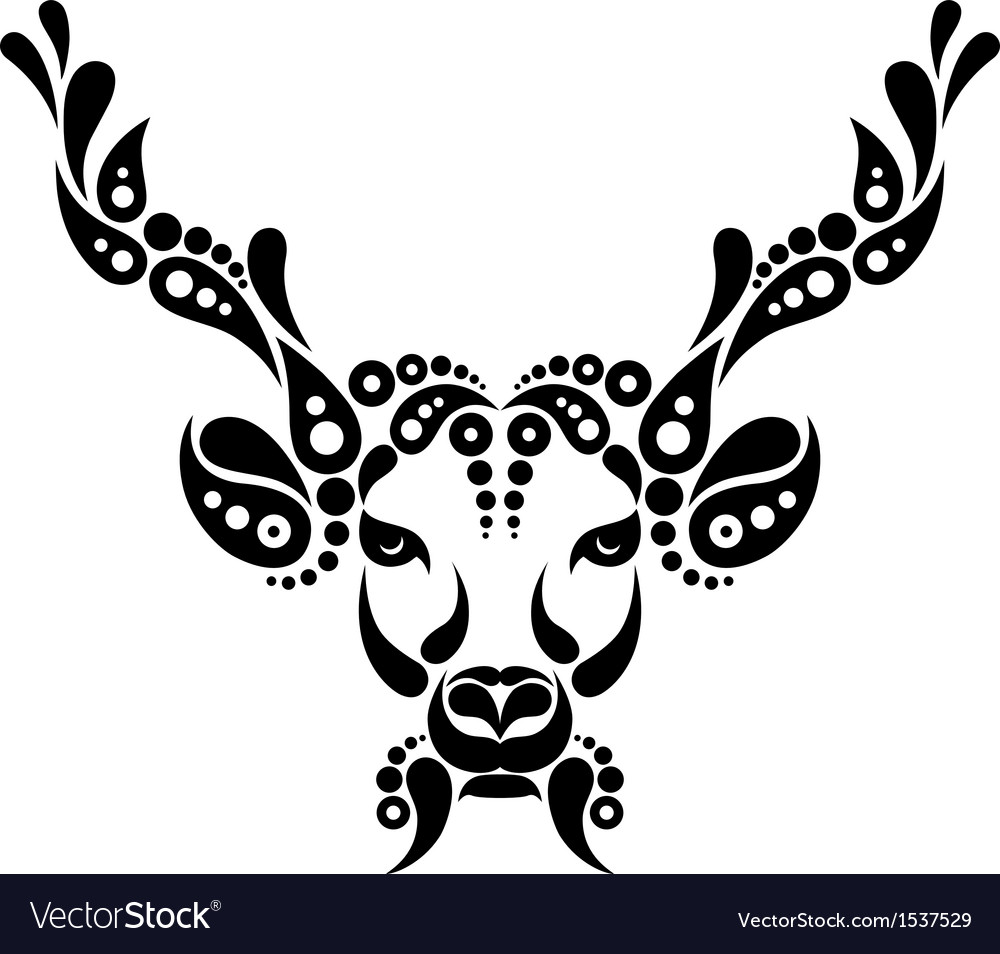 Deer tattoo symbol decoration vector image