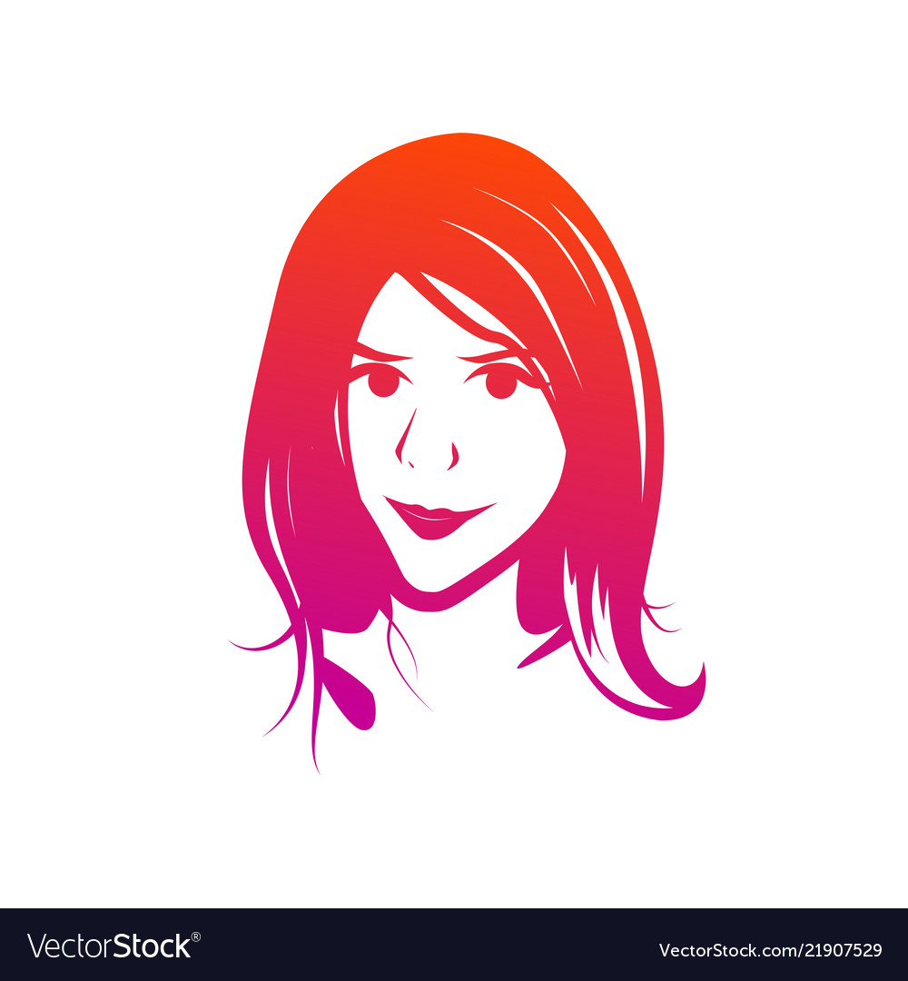 Face of young female - clipart isolated on