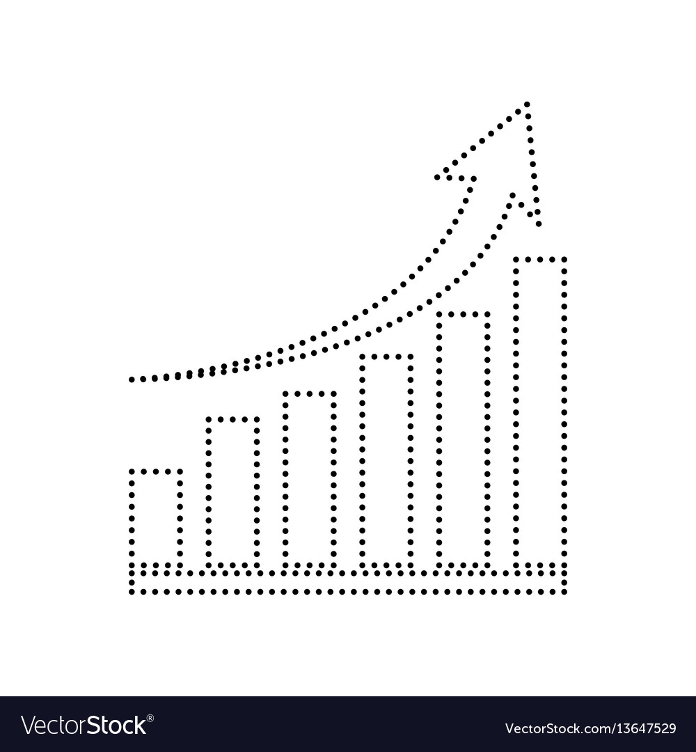 Growing graph sign black dotted icon on