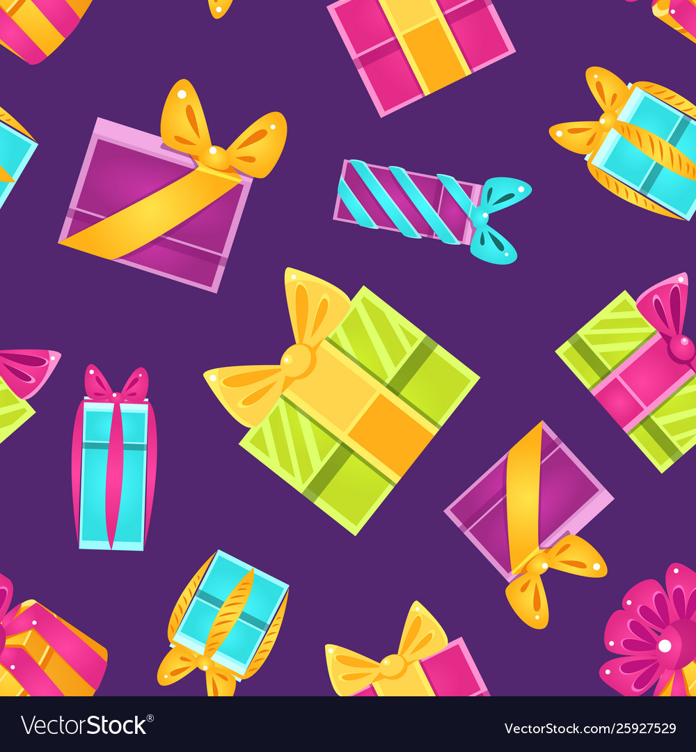 Holiday shopping seamless pattern with colorful