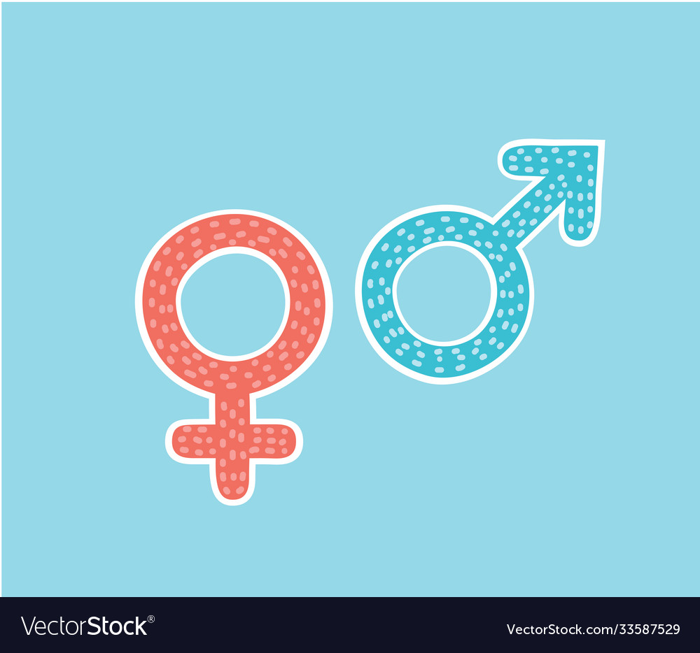 Isolated gender pink women and blue man symbols