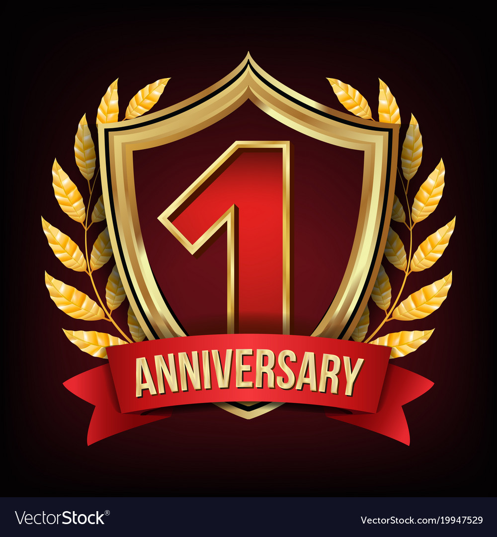 One year anniversary one first vector image