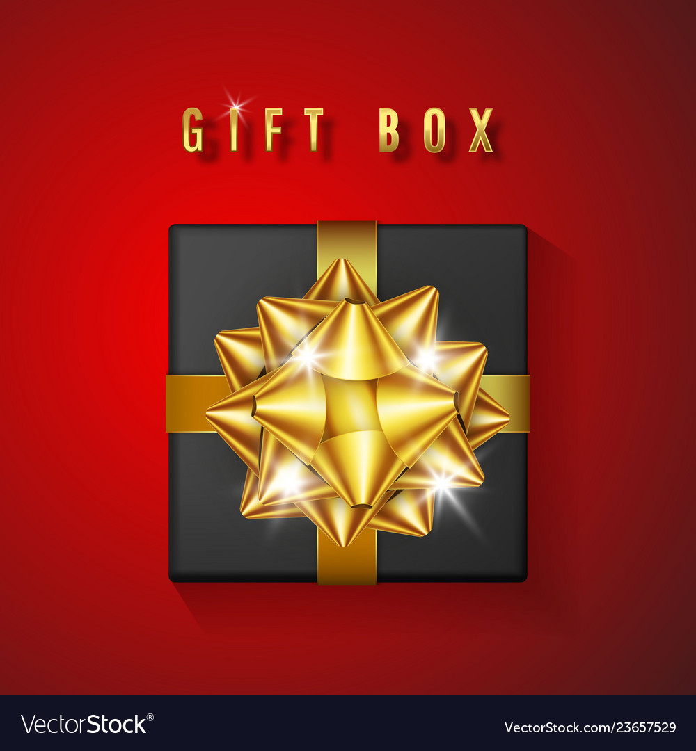 Realistic black gift box with golden bow and