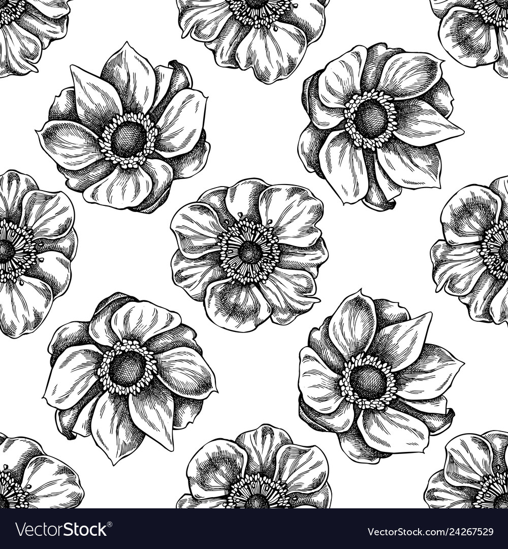 Seamless pattern with black and white anemone