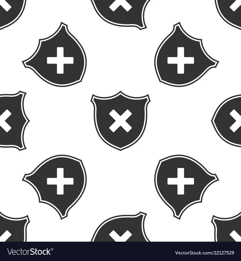 Shield and cross x mark icon seamless pattern