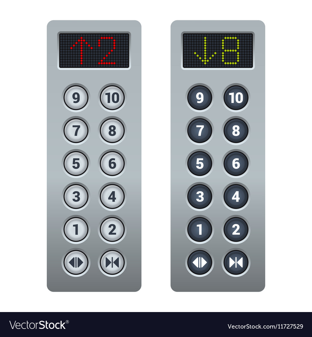 Steel Elevator Buttons Panel Set vector image