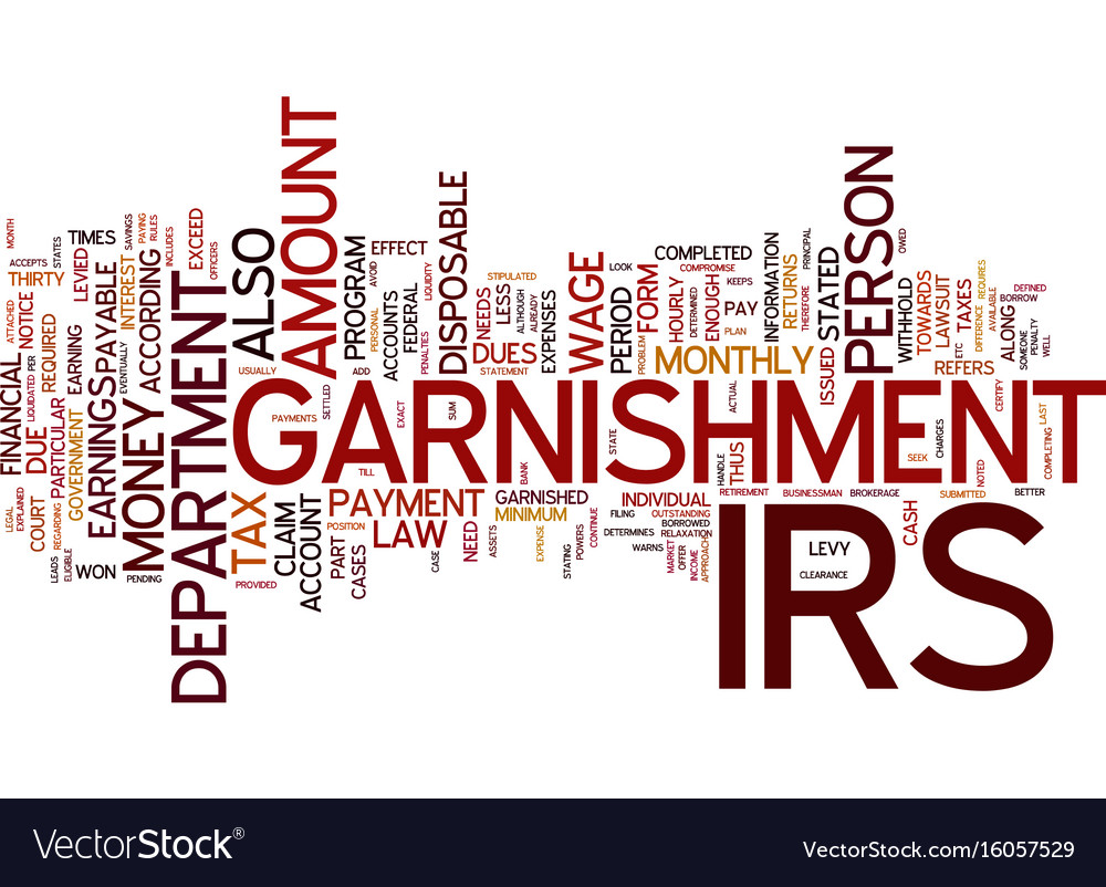 The irs levy and legal powers of garnishment vector image