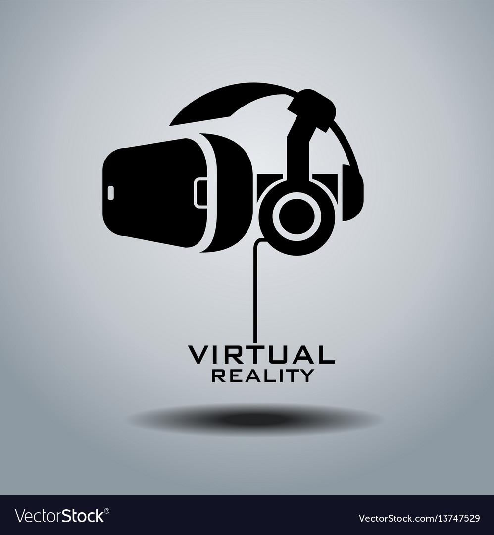 Virtual reality headset icon flat design