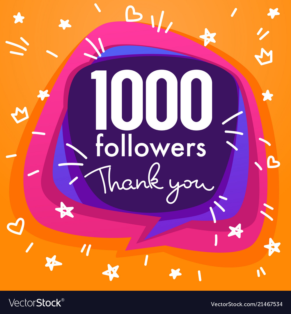 1000 followers thank you banner stars confetti