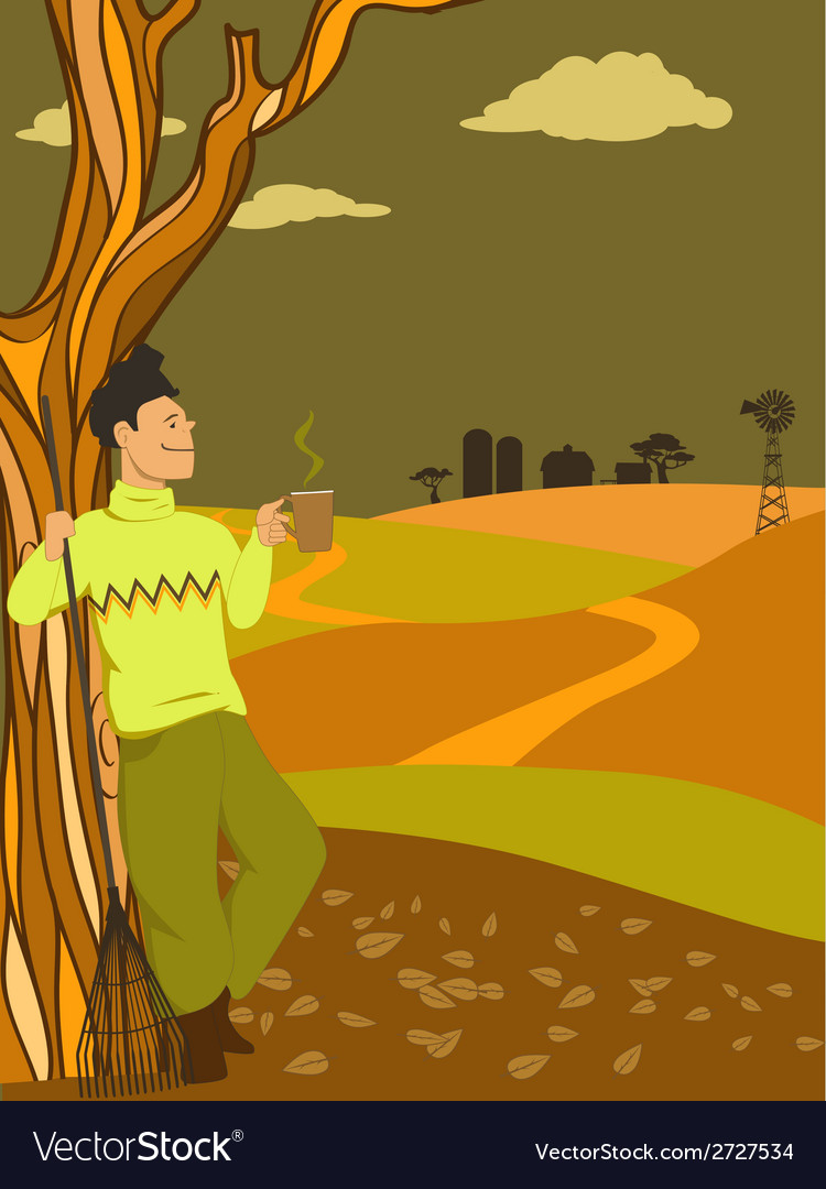 Autumn in the country vector image