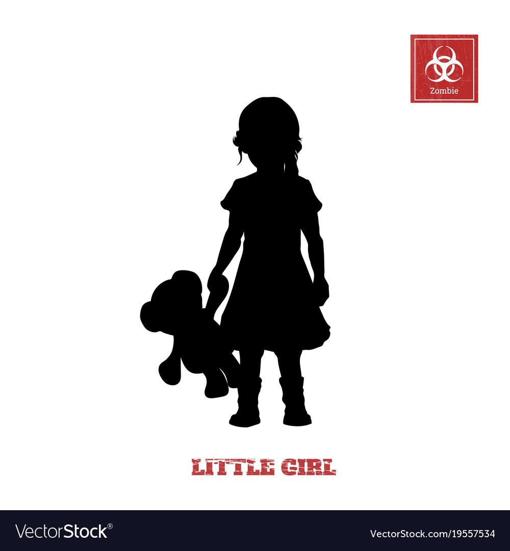 Black silhouette of little girl