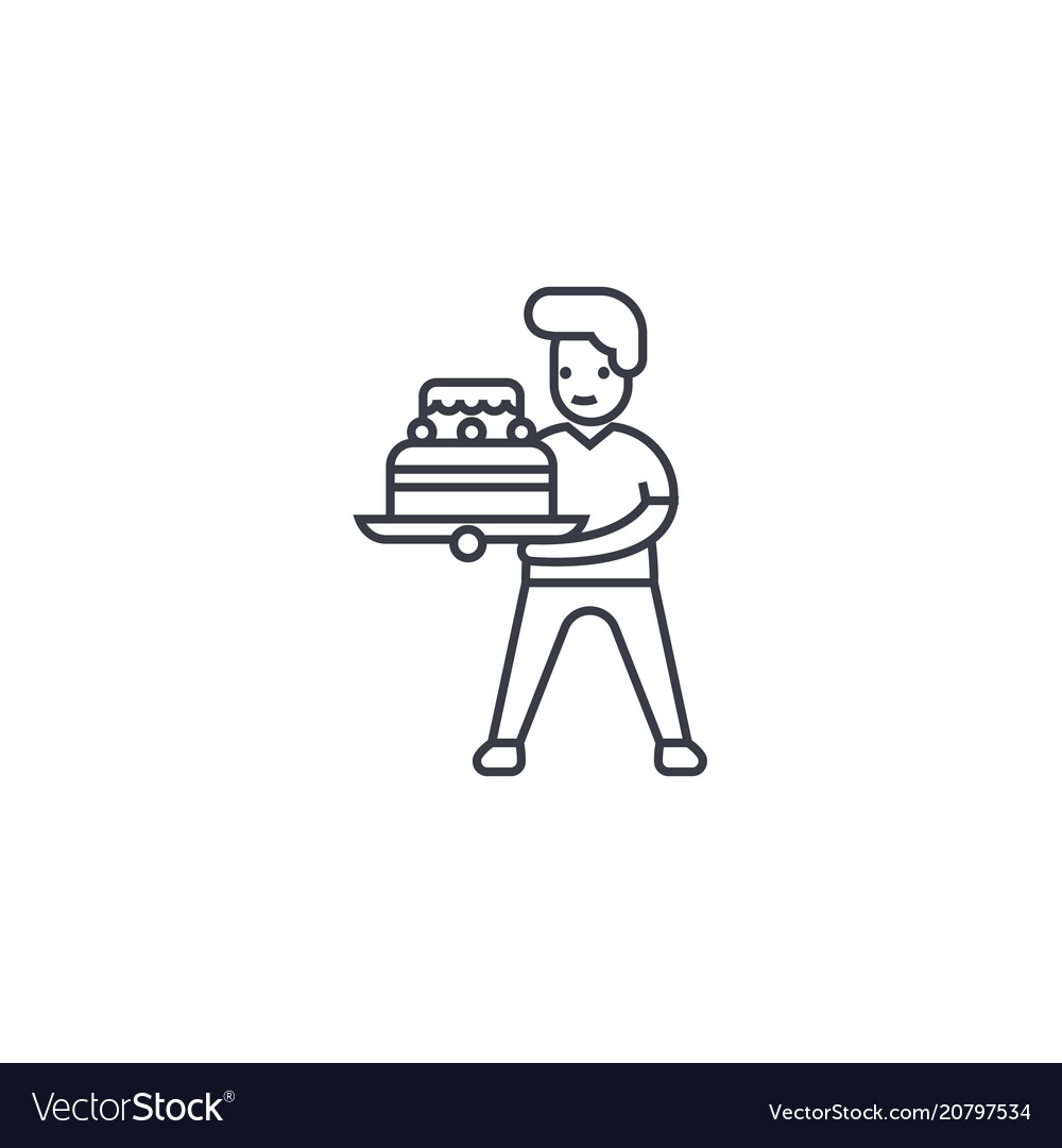 Boy with a cake line icon sign