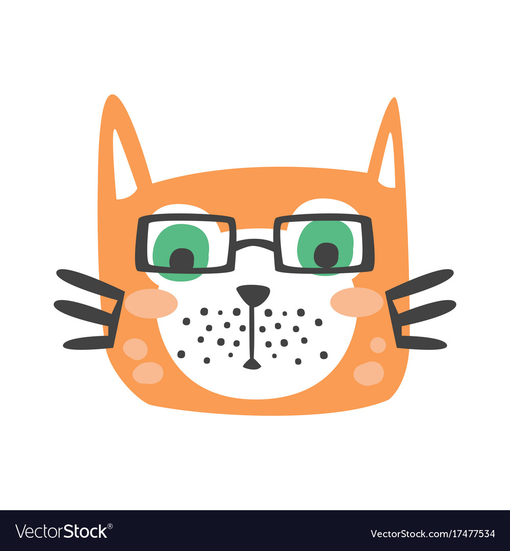 Cute red cat head in glasses funny cartoon animal