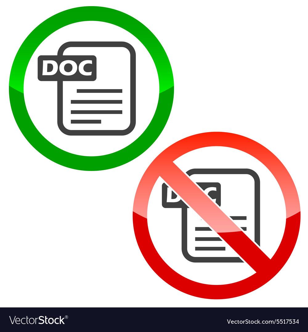 DOC file permission signs set vector image