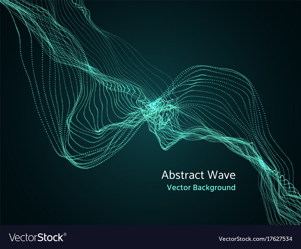 Dynamic particles array 3d abstract music wave
