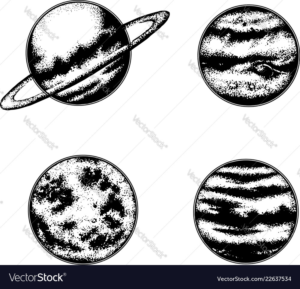 hand drawn of planets template for card poster vector image