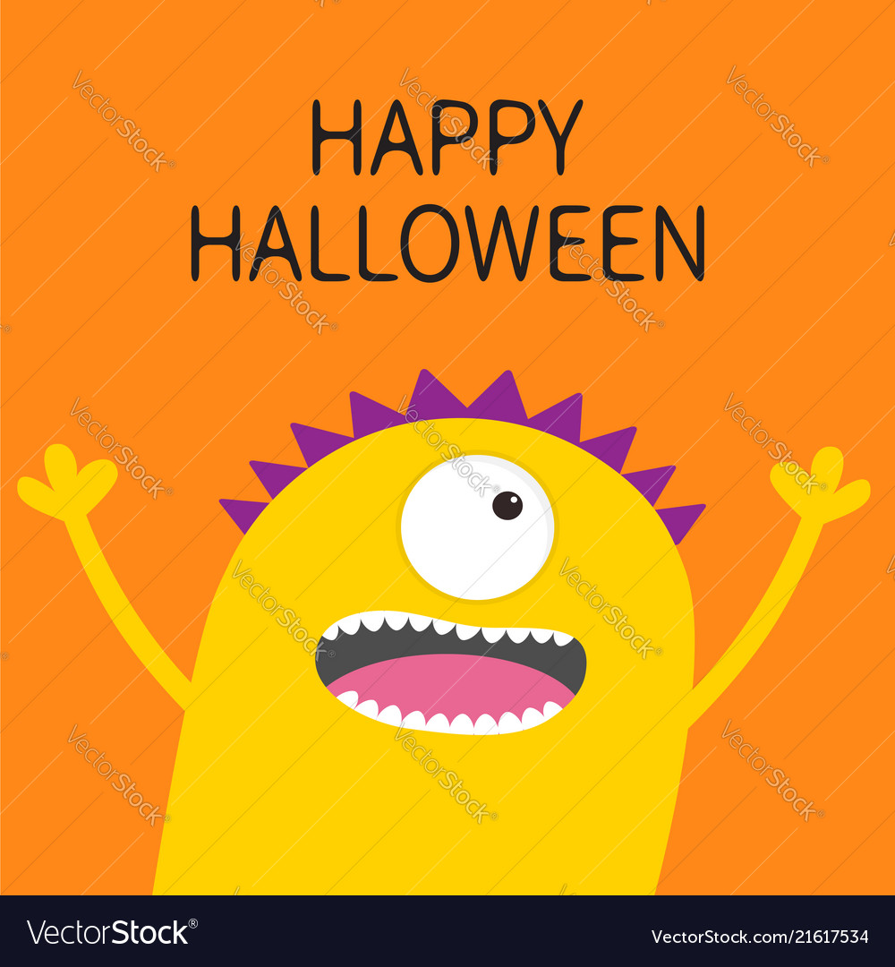 Happy Halloween Card Screaming Spooky Yellow Vector Image