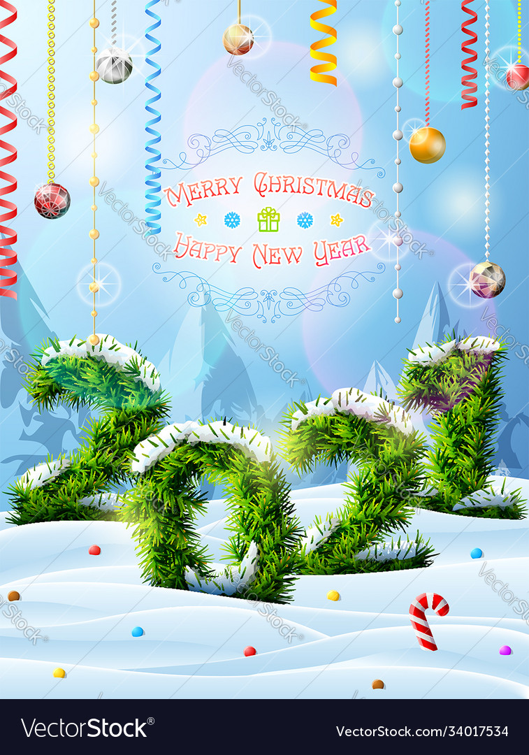 Christmas Tree Recolection 2021 New Year 2021 Christmas Tree Twigs In Snow Vector Image