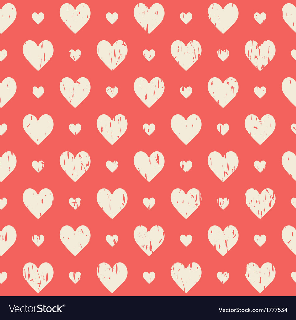 Red retro seamless pattern with hearts