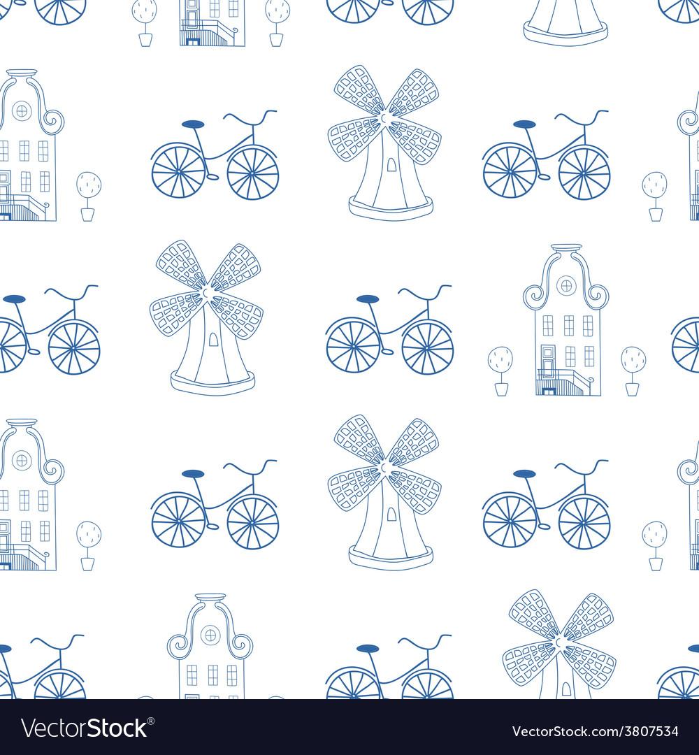 Seamless pattern with Dutch ornaments Deflt blue