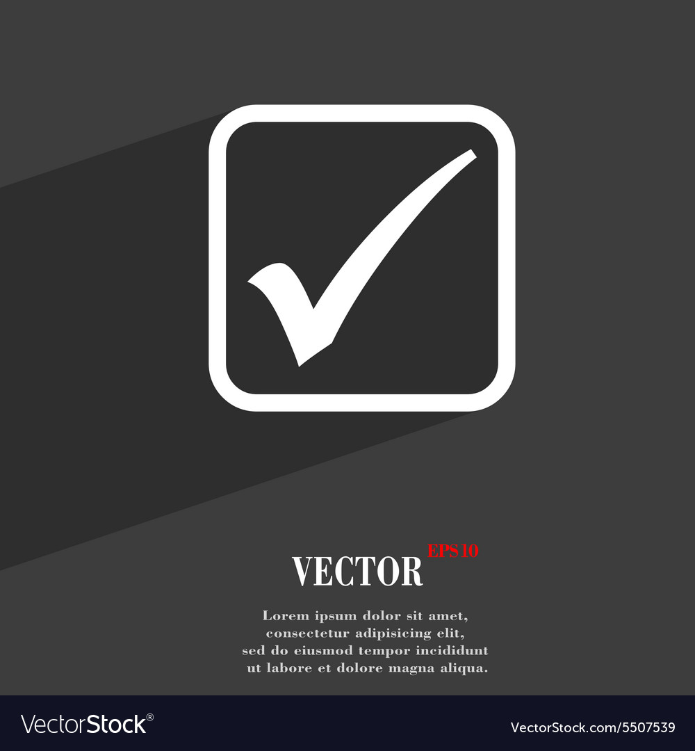 A check mark icon symbol Flat modern web design