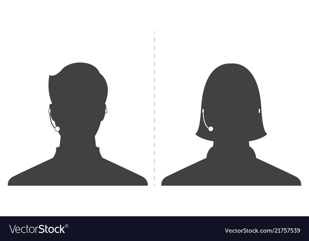 Avatar head profile silhouette call center male