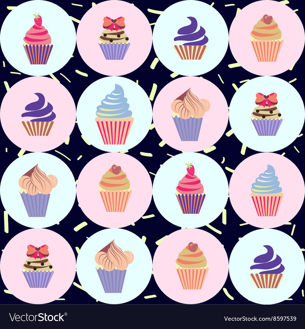 Cute Hand drawn colorful seamless pattern with cup