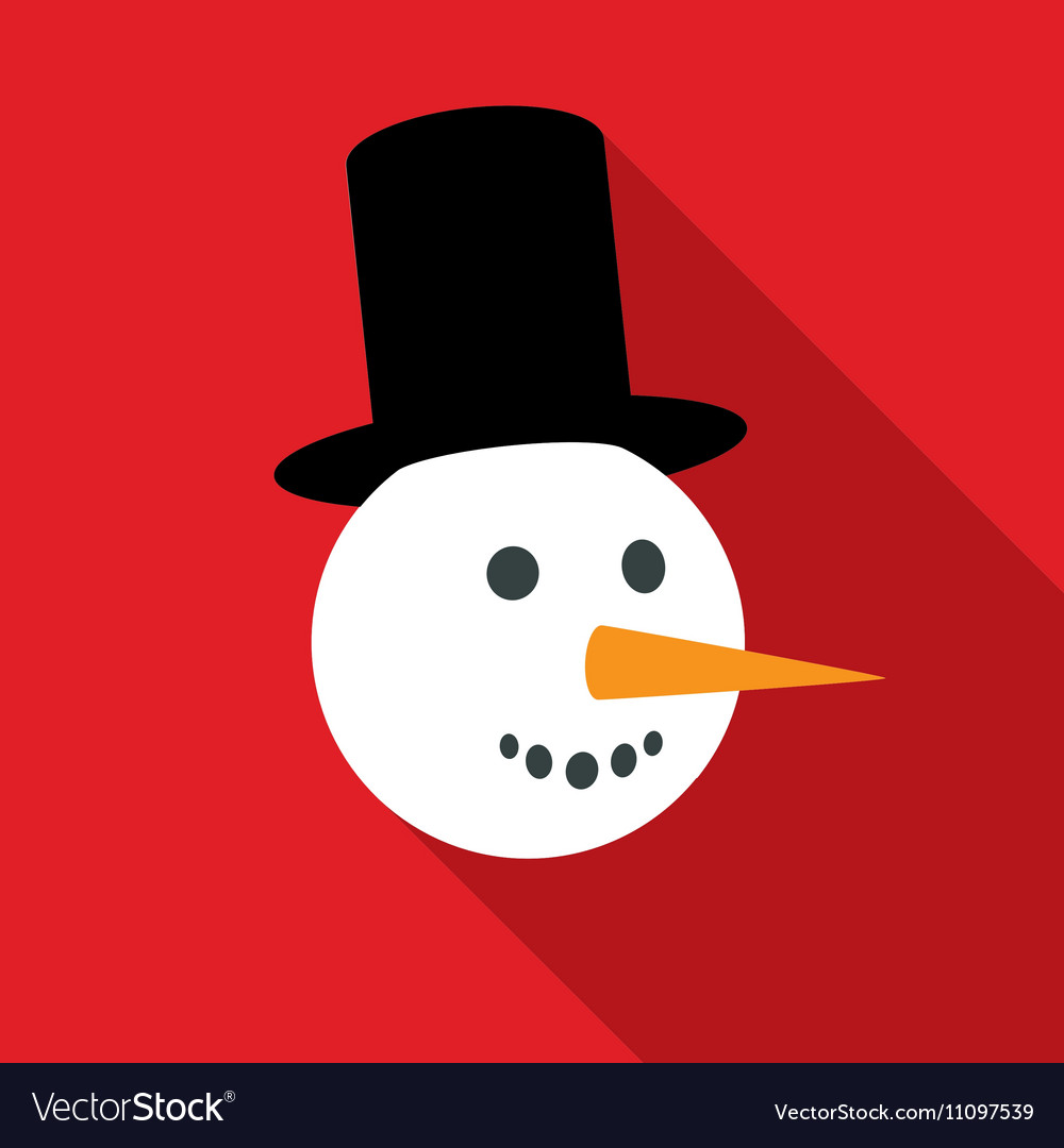 Fun Snowman Face in Flat Style with Long Shadows