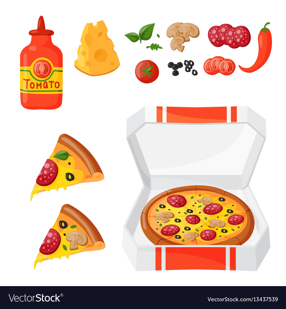 Hot fresh pizza ingredients icons