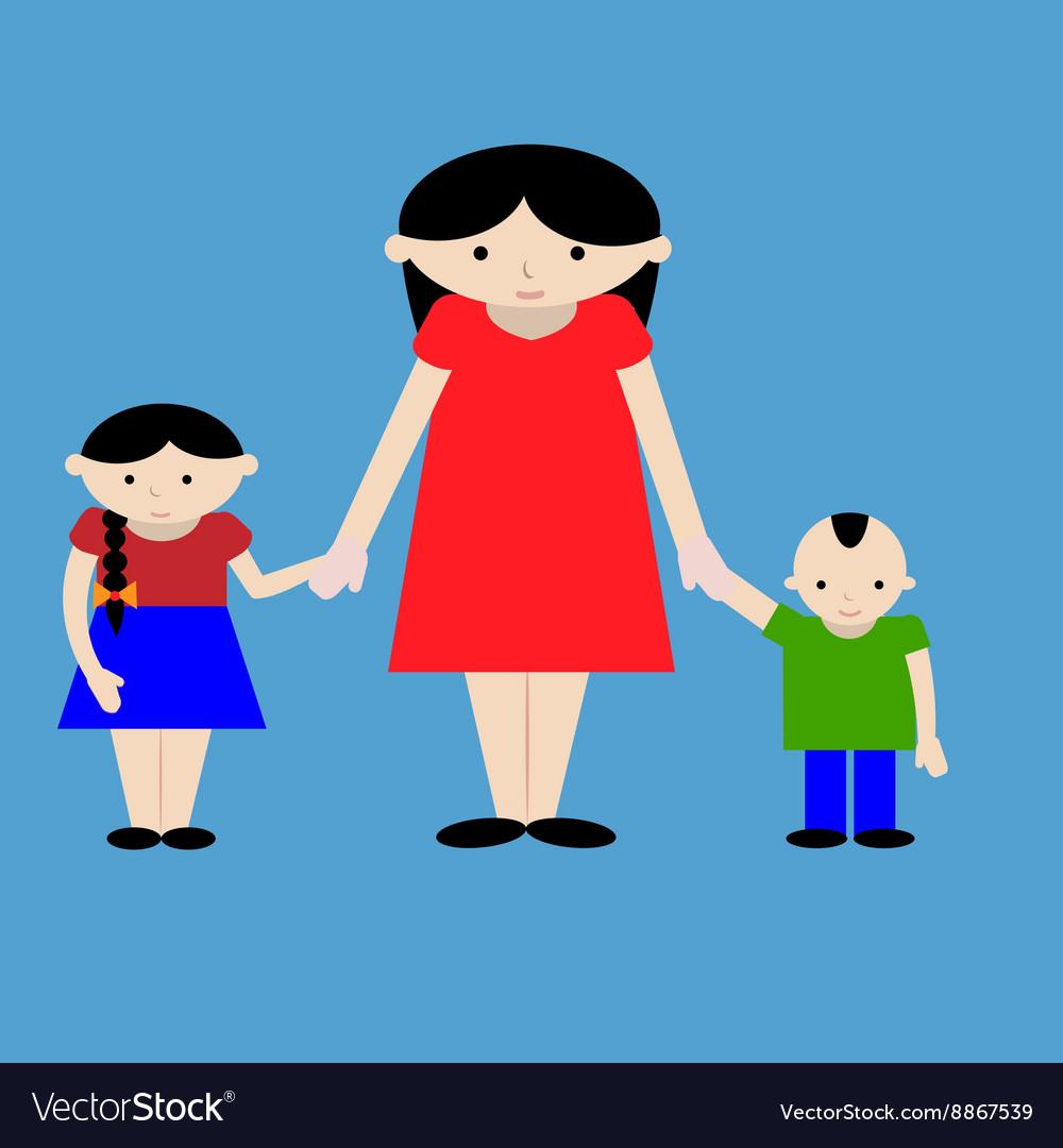 Mother with kids cartoon vector image
