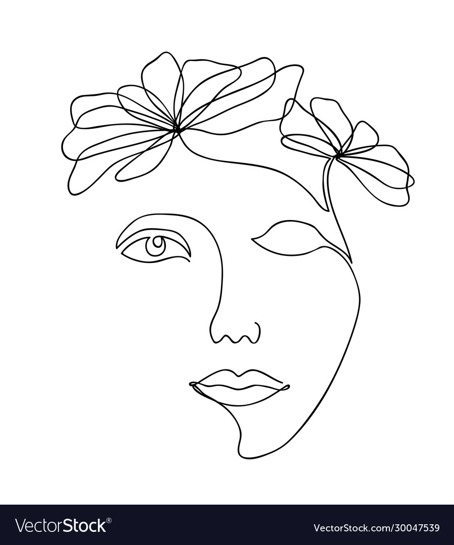 One line drawing abstract beautiful woman