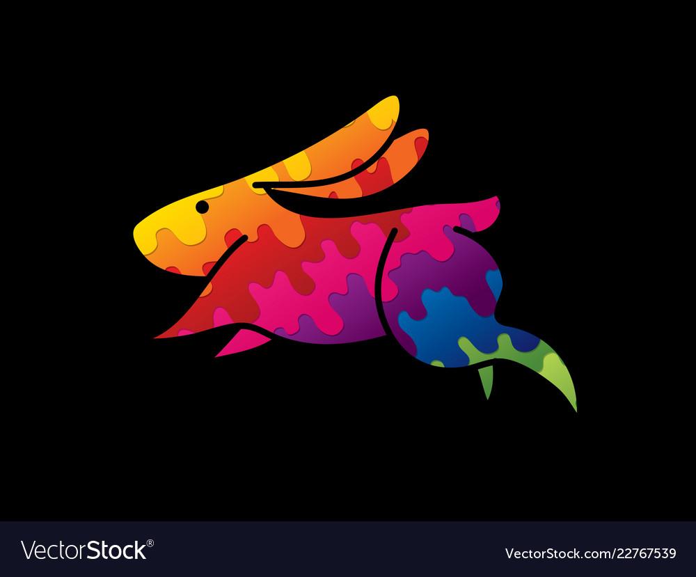 Rabbit jumping graphic