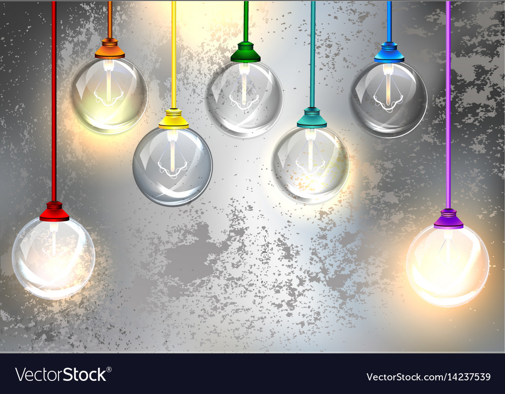 Round light bulbs on a gray background vector image