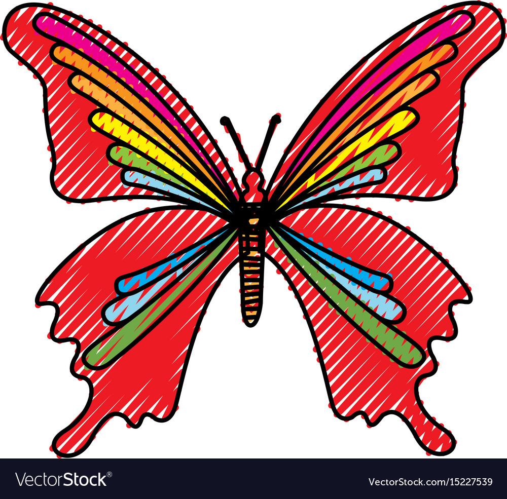 Scribble butterfly cartoon